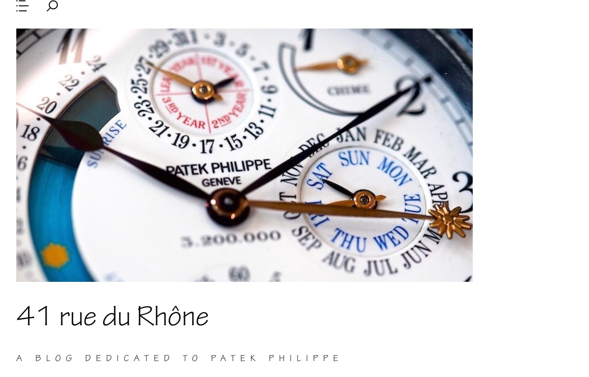 41 rue du Rhône – a blog dedicated to Patek Philippe