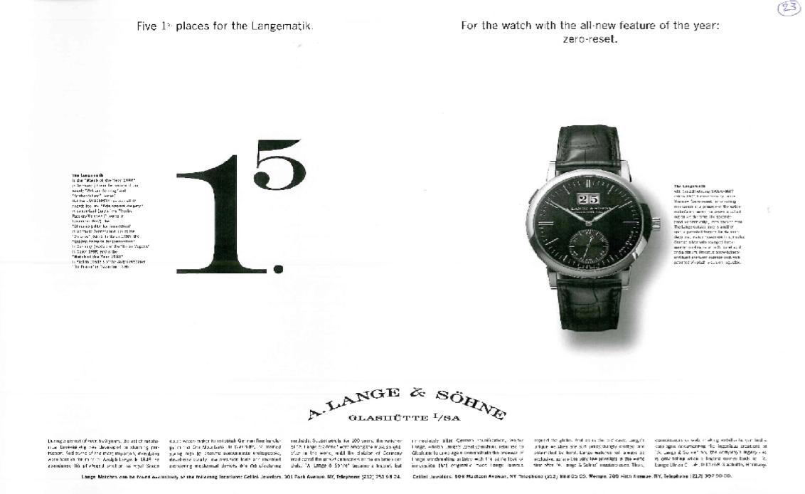 A. Lange & Söhne – Werbung im Wandel der Zeit – 1994 bis 2010